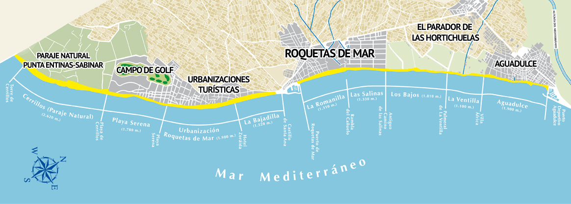 mapa playas roquetas de mar